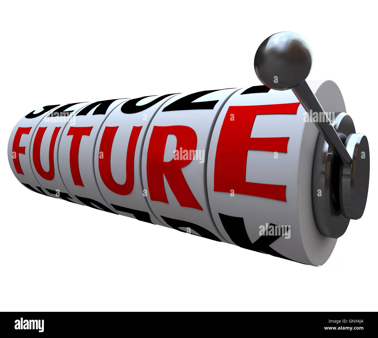 Future Word on Slot Machine Wheels Destiny Fate - Stock Image