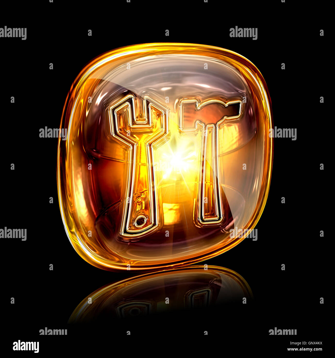 Tools icon amber, isolated on black background - Stock Image