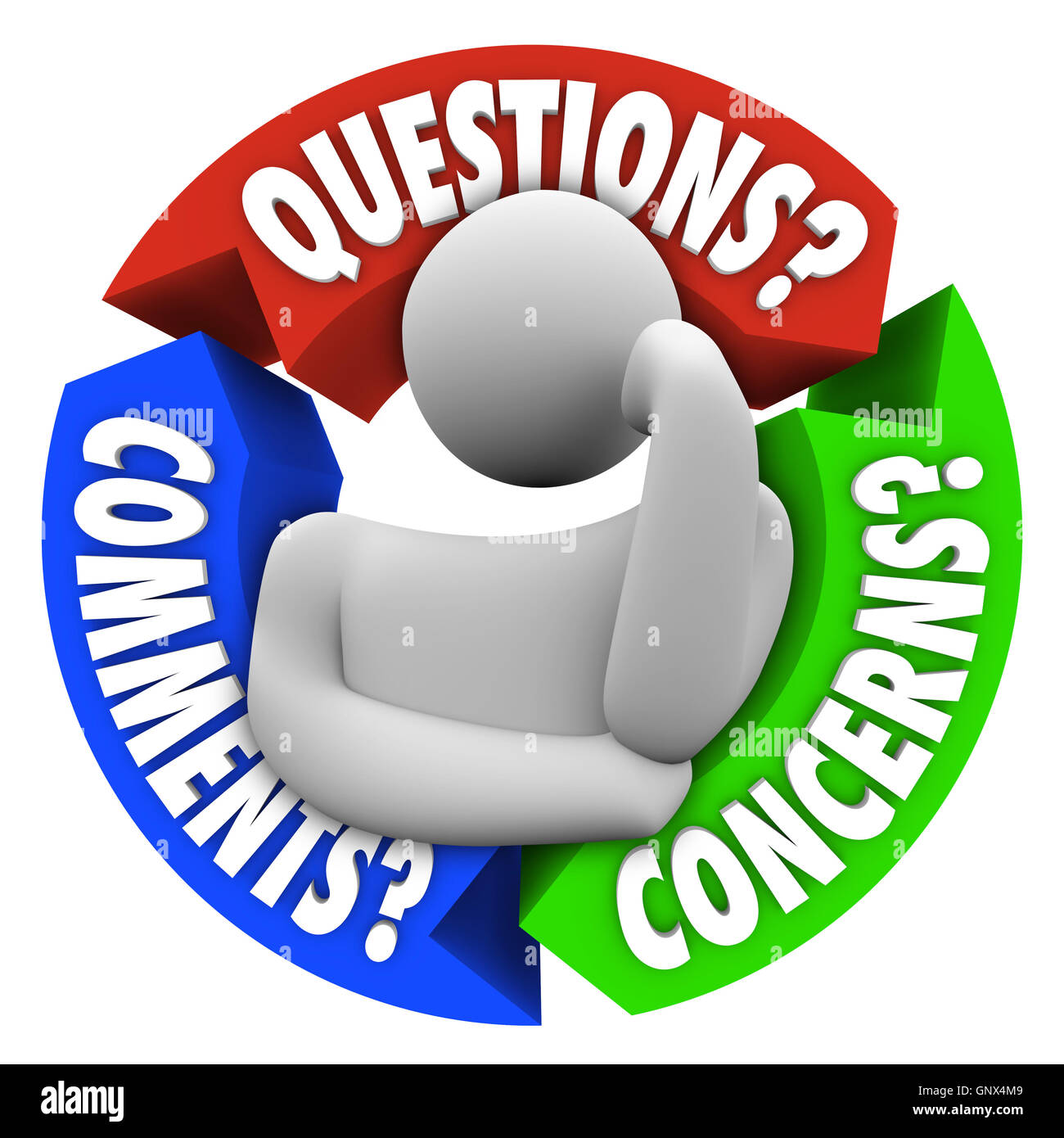 Questions Comments Concerns Customer Support Diagram - Stock Image