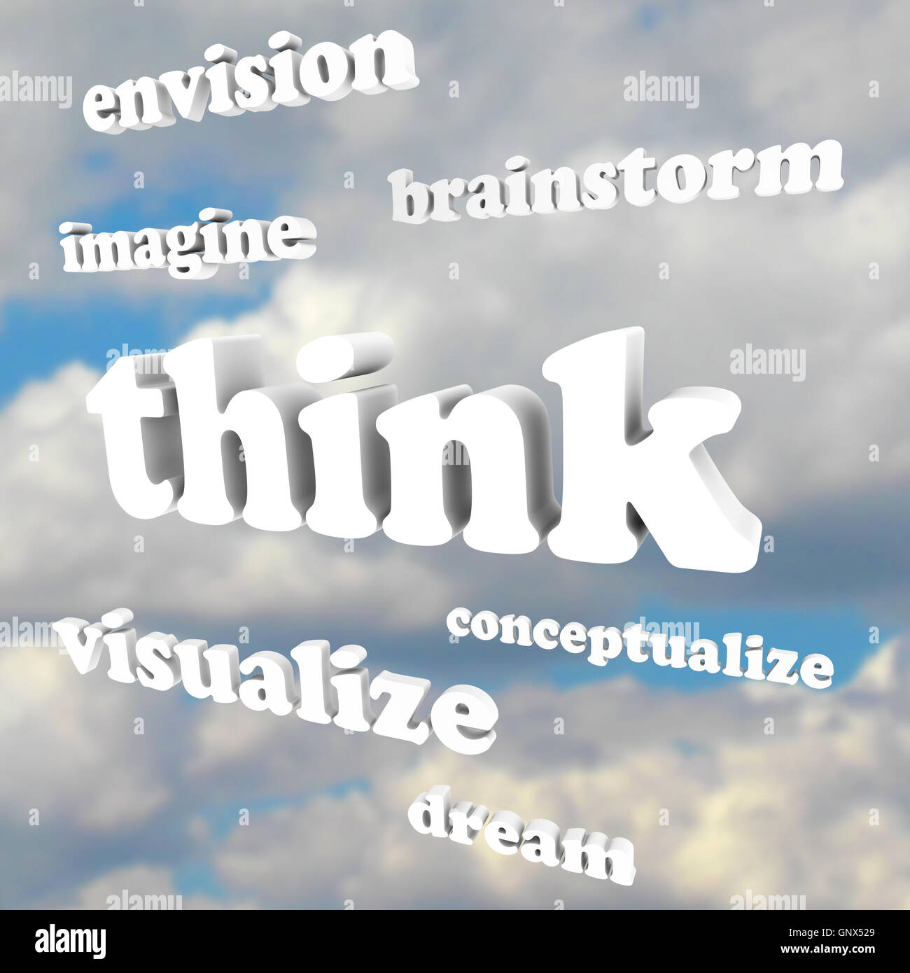 Think Words in Sky - Imagine New Ideas and Dreams - Stock Image