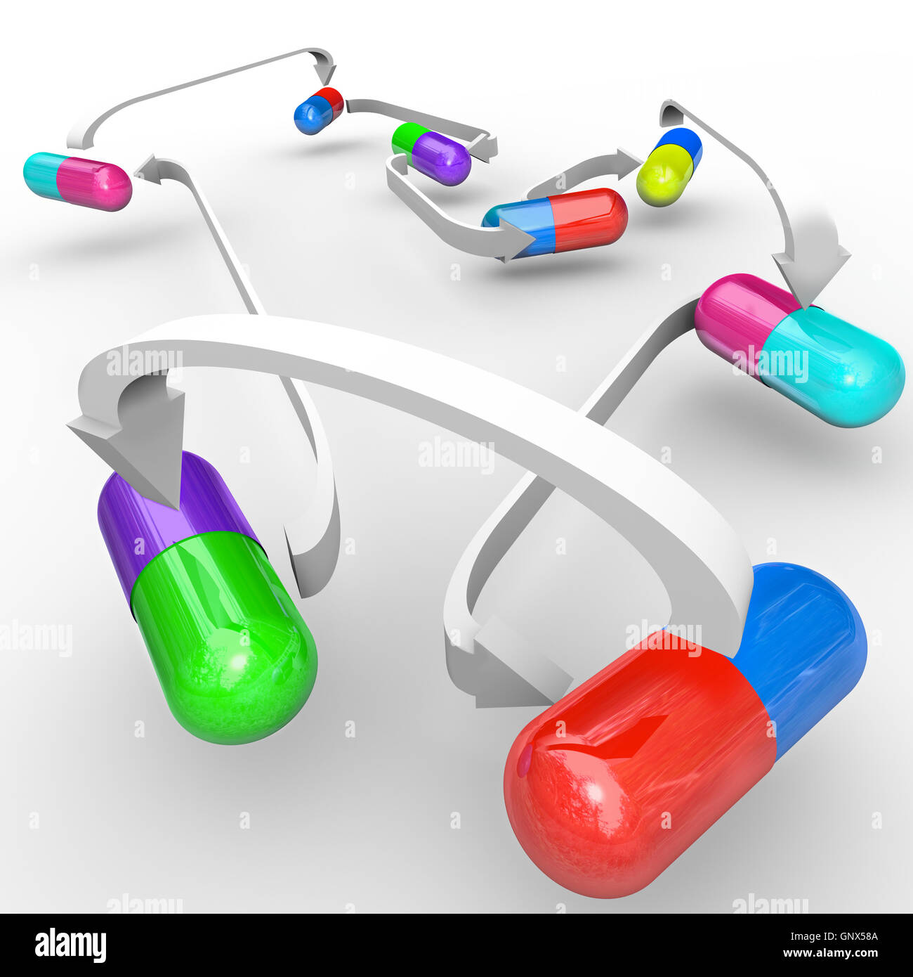 Medicine Drug Interactions Capsules and Pills Connected - Stock Image
