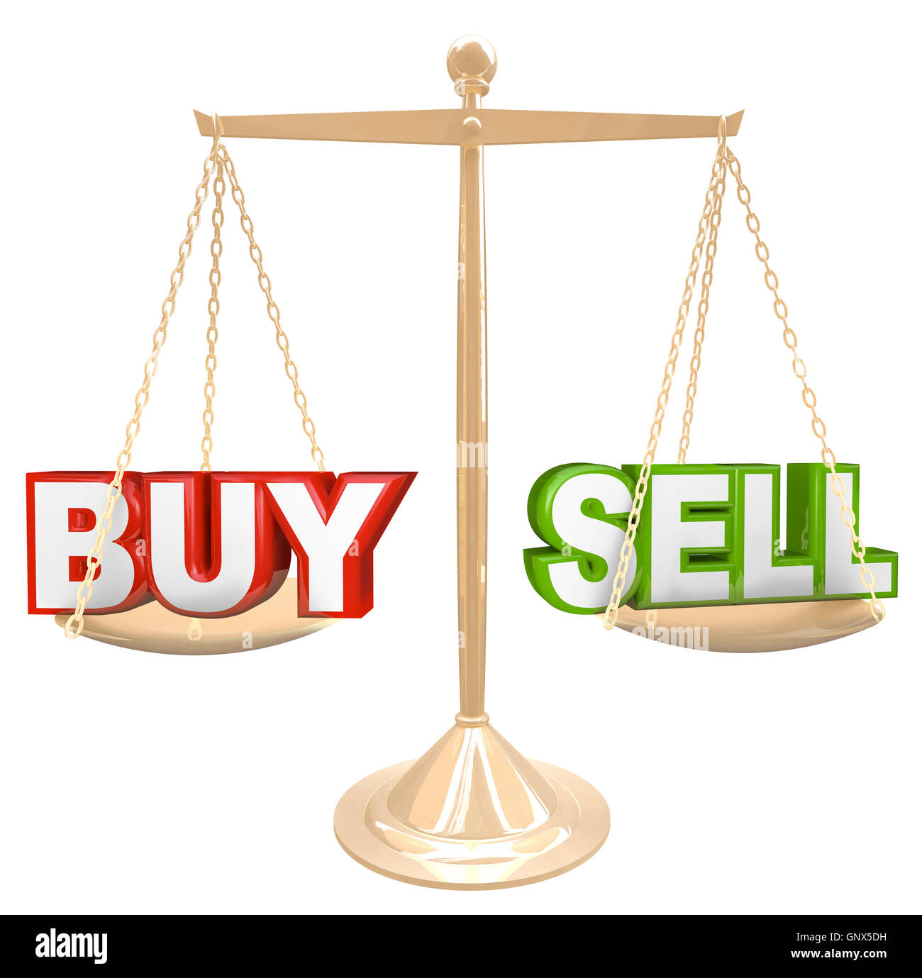 Buy Vs Words on Scale Comparing Risks and Benefits - Stock Image