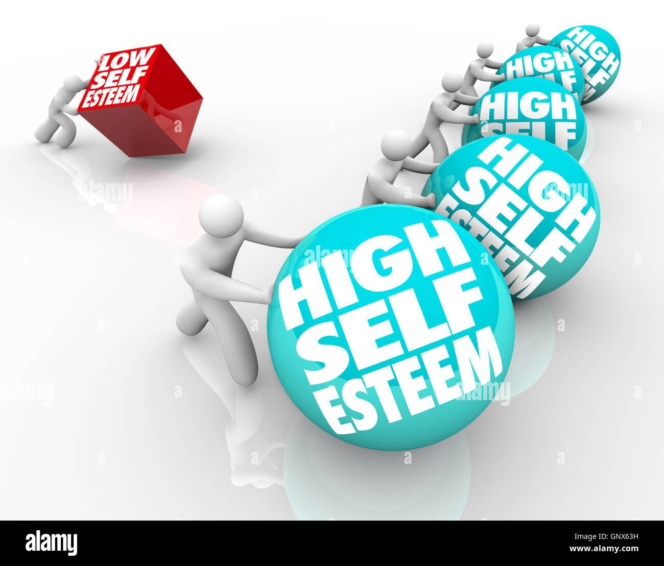High Vs Low Self Esteem Losing Race of Confidence Attitude - Stock Image