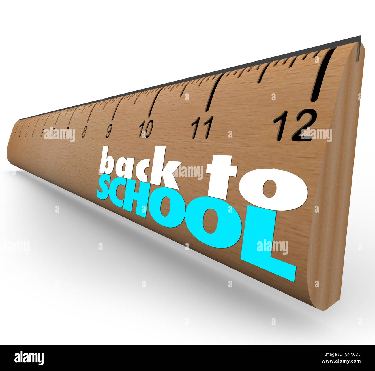 Back to School Words on Wooden Ruler Measurement - Stock Image