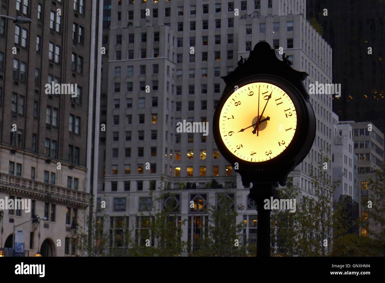 Rotating Face Clock at New York Central Park - Stock Image