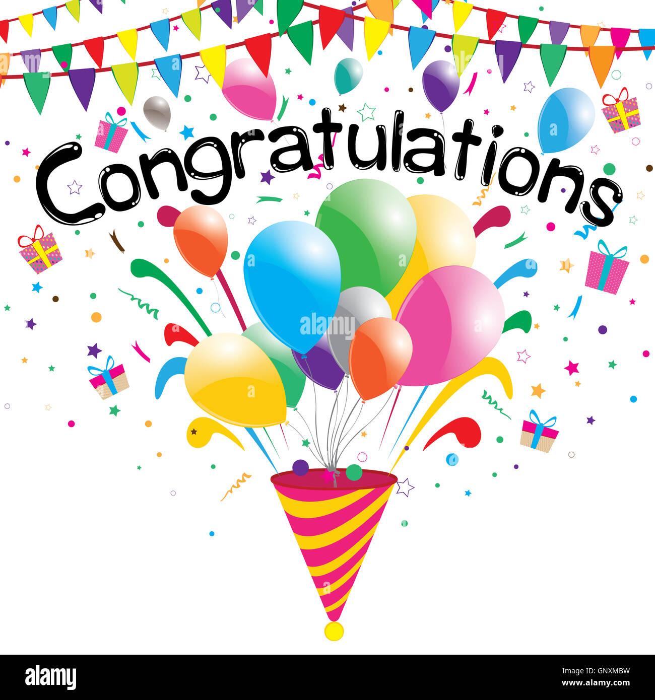 congratulations, confetti, background, vector, celebration, balloons, illustration, colorful, design, anniversary, Stock Photo