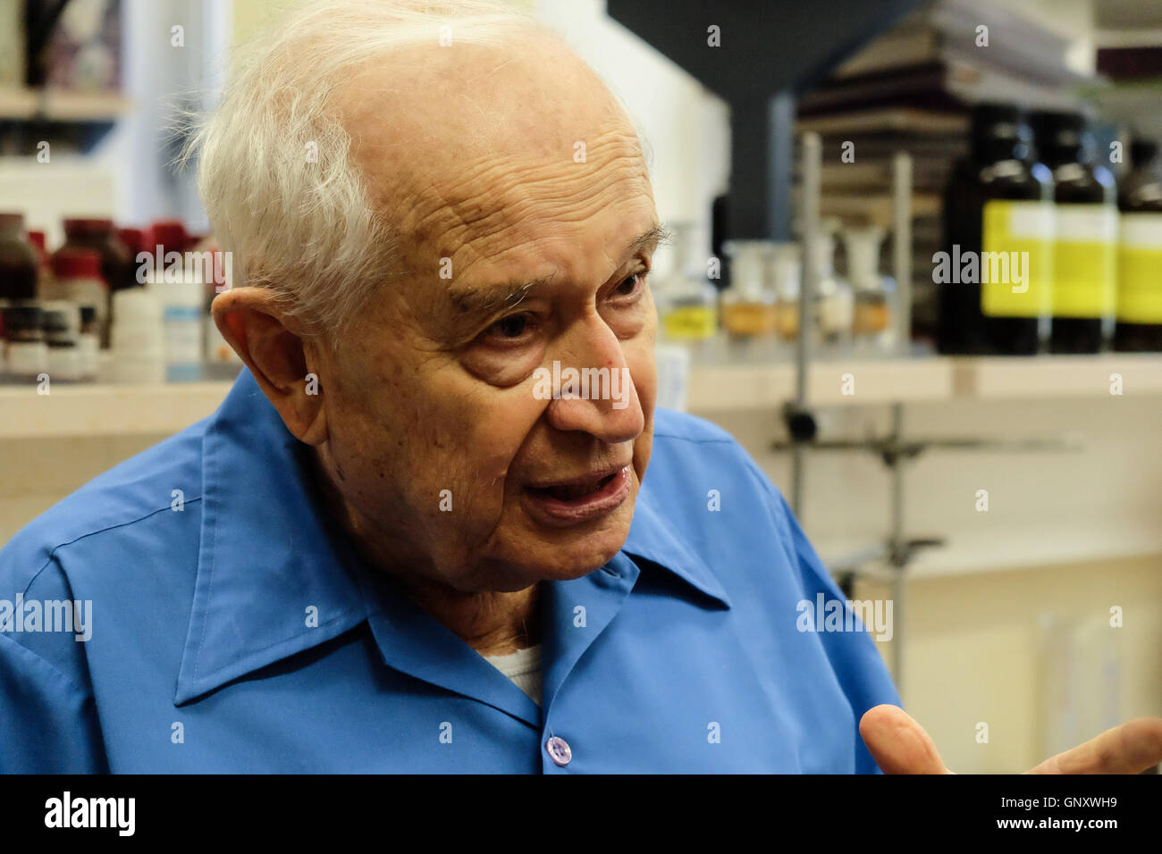 Jerusalem, Israel. 1st September, 2016. World renown Professor RAPHAEL MECHOULAM, 86, is depicted in his Laboratory - Stock Image