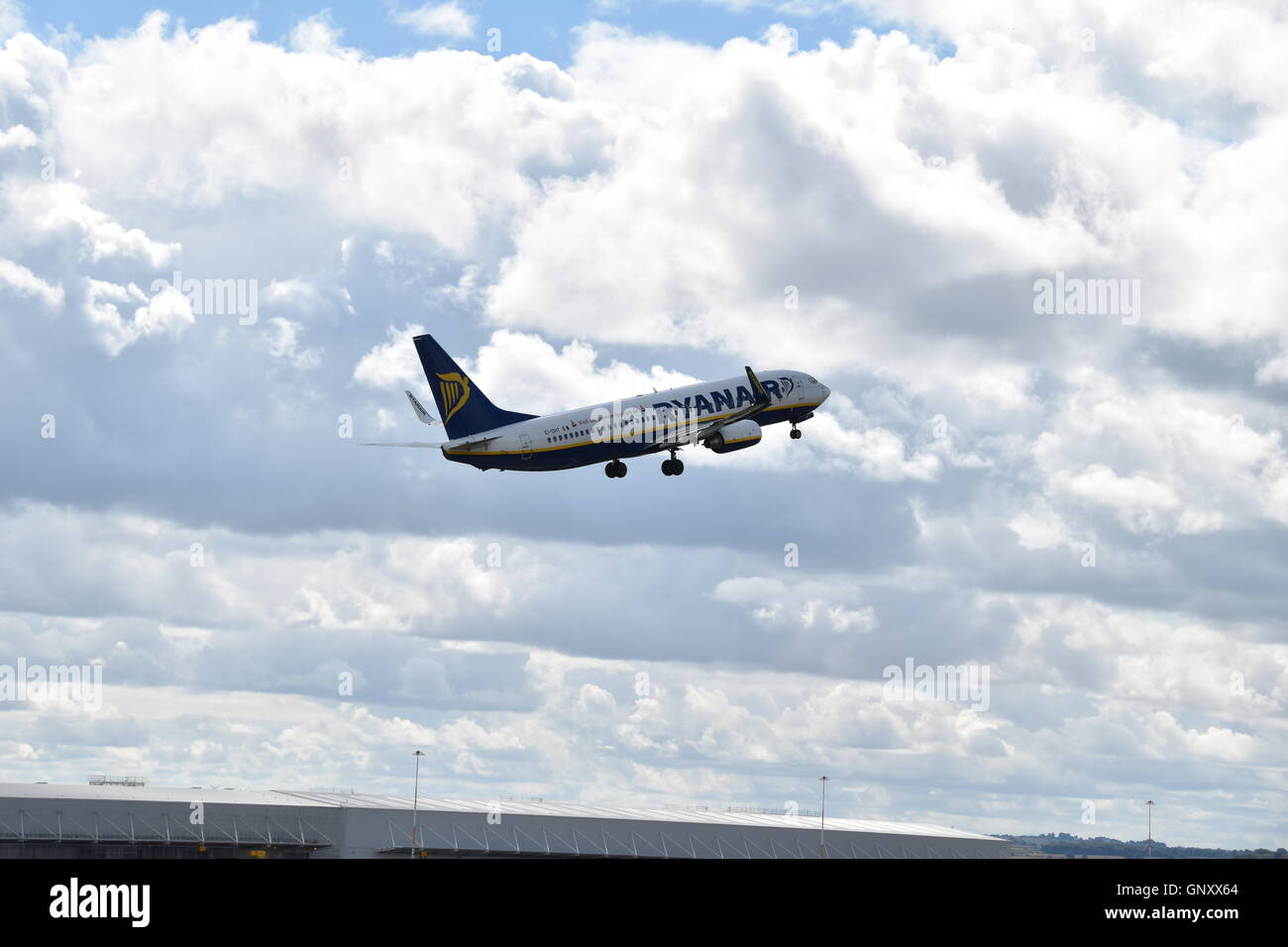 Ryanair taking off from East Midlands airport - Stock Image