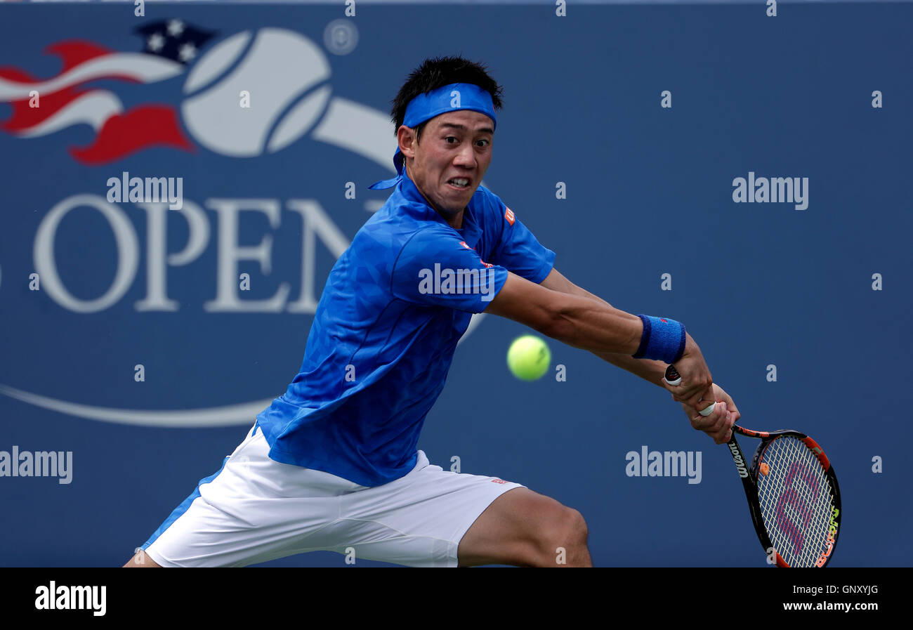 New York, United States. 01st Sep, 2016. Number 6 seed Kei Nishikori of Japan during his second round match against - Stock Image