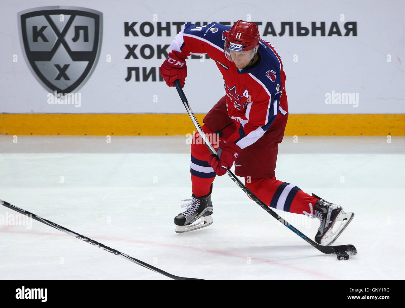 Moscow, Russia. 1st Sep, 2016. CSKA Moscow's Sergei Andronov in action in the 2016/2017 KHL Regular Season ice - Stock Image