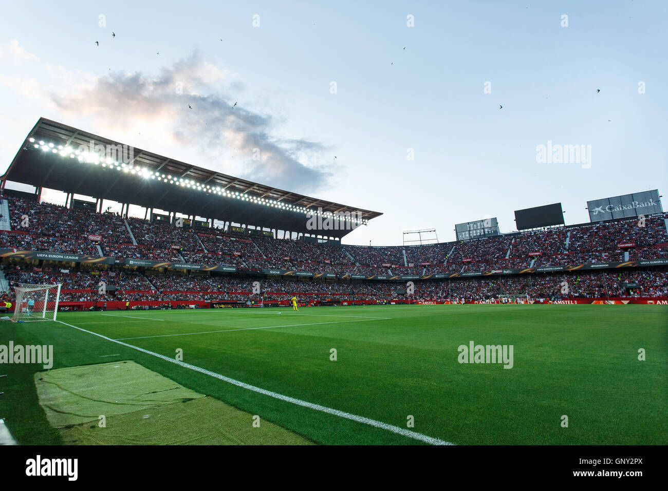 SEVILLA, SPAIN - MAY 5: panoramic view of the stadium from the corner of the football ptich during the UEFA Europa - Stock Image