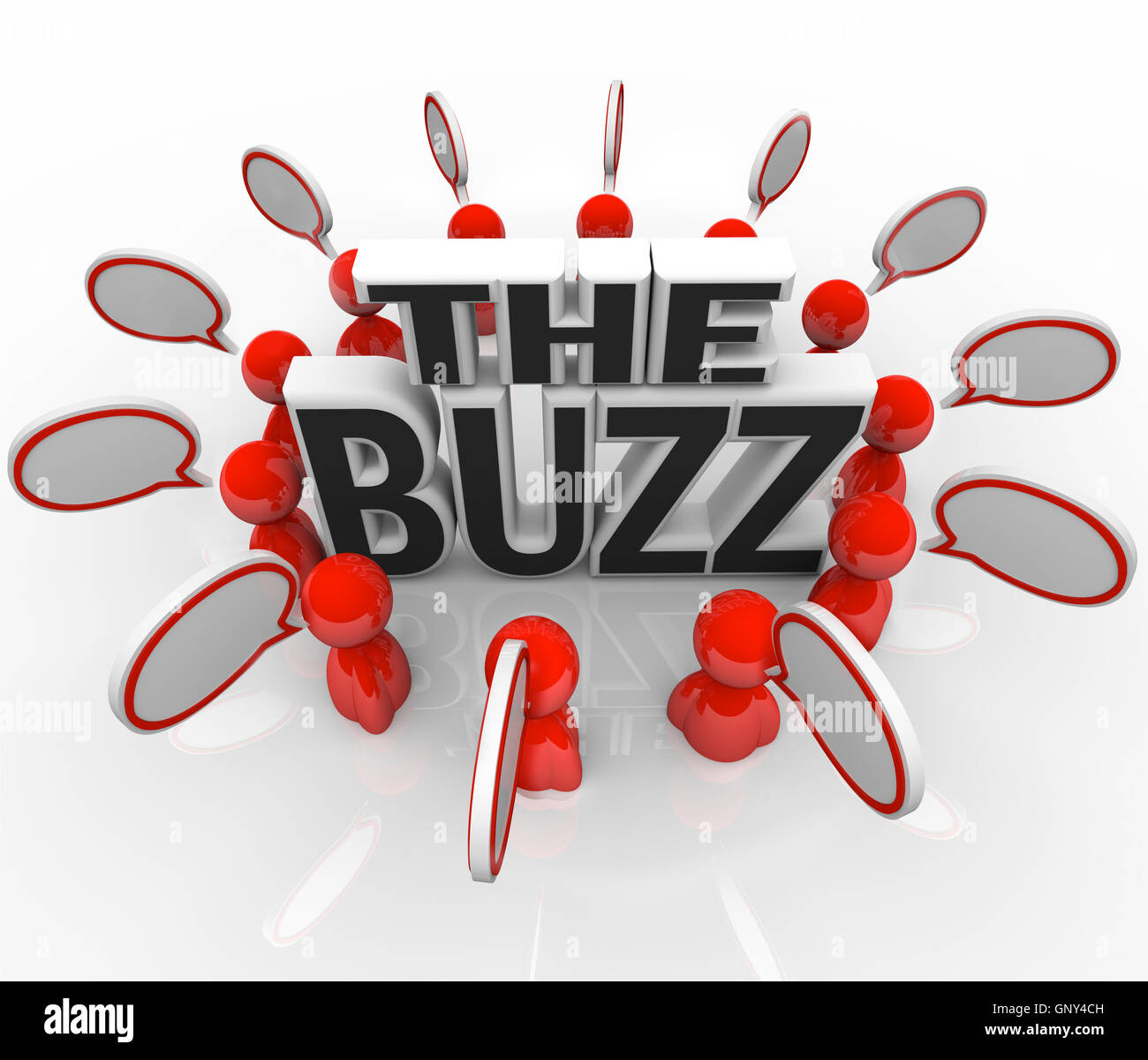 The Buzz People Talking in Speech Bubbles Latest News - Stock Image