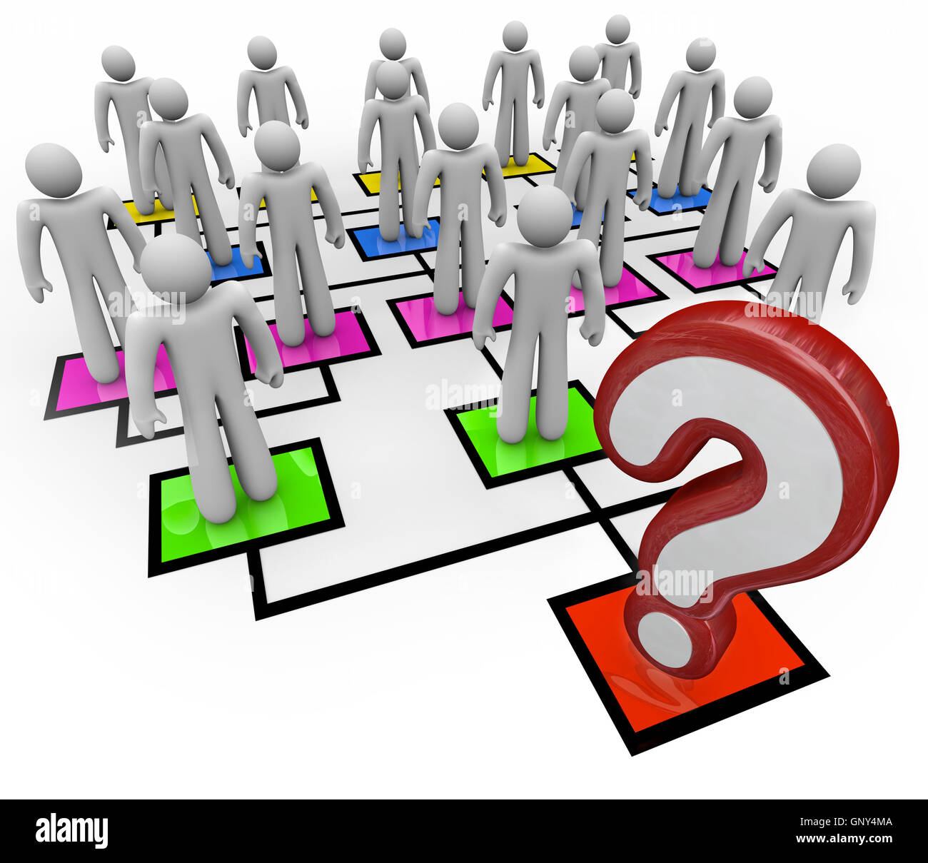 Question Mark Lack of Leadership Org Chart - Stock Image