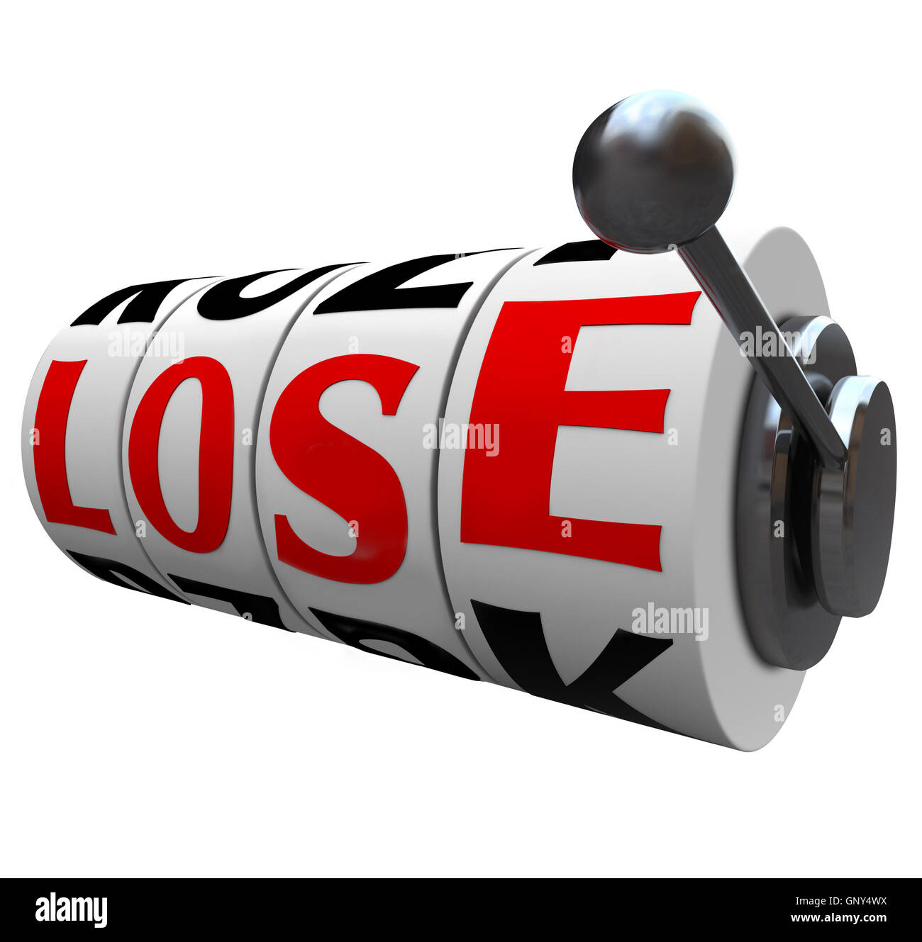 Lose Word Slot Machine Wheels Losing the Game - Stock Image