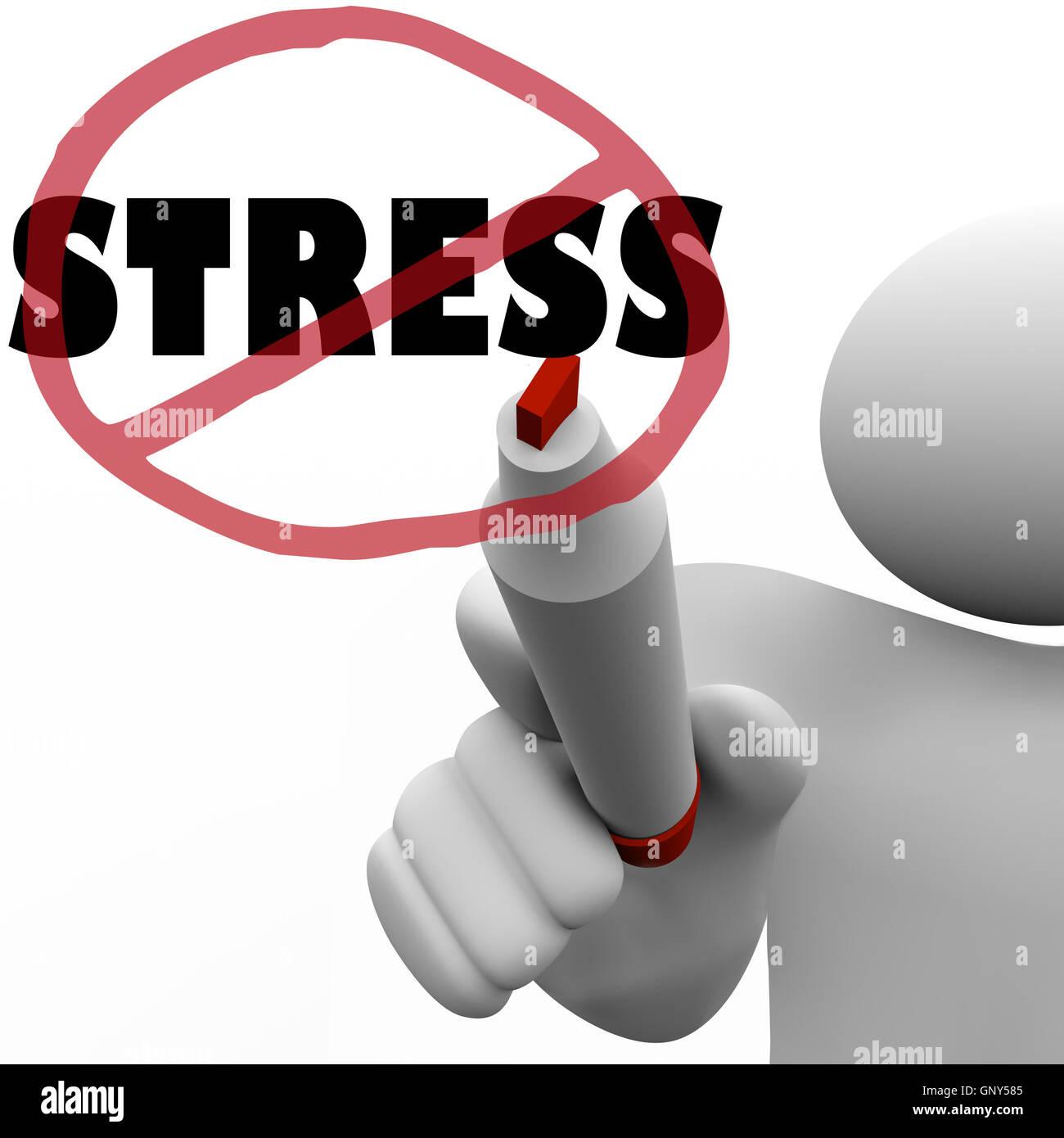 No Stress Man Draws Slash to Reduce Stressful Anxiety - Stock Image