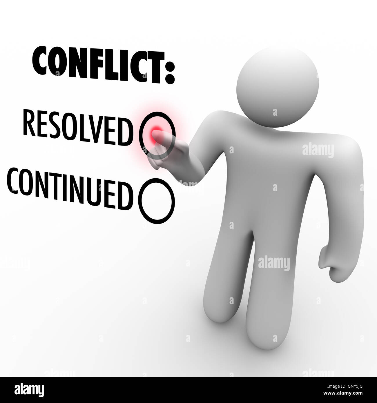 Choose to Resolve or Continue Conflicts - Conflict Resolution - Stock Image