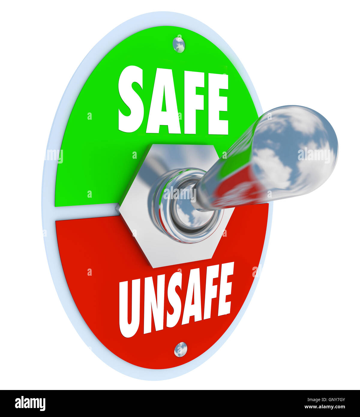 Safe or Unsafe Toggle Switch Choose Safety vs Danger - Stock Image