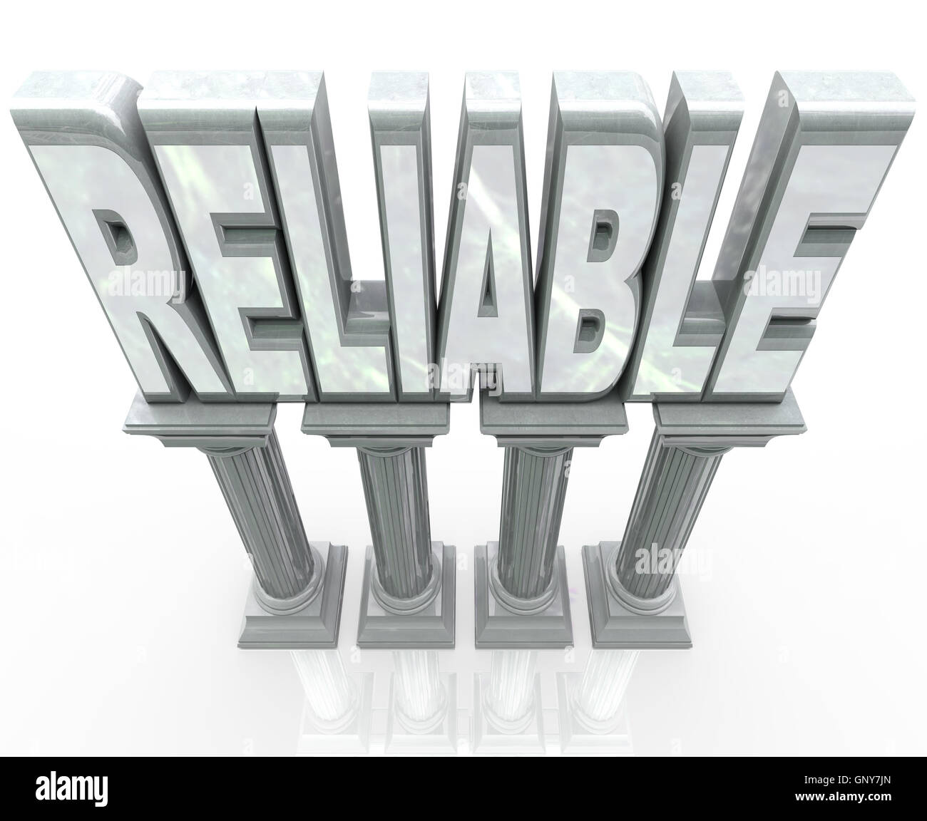 Reliable Word on Columns Dependable Durability - Stock Image