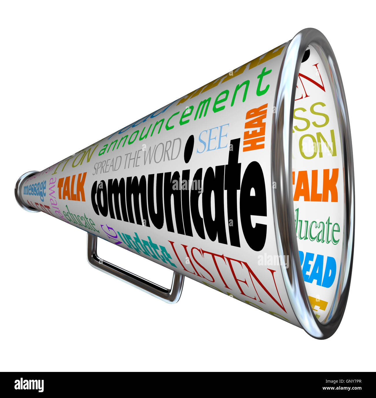 Communicate Bullhorn Megaphone Spread the Word - Stock Image