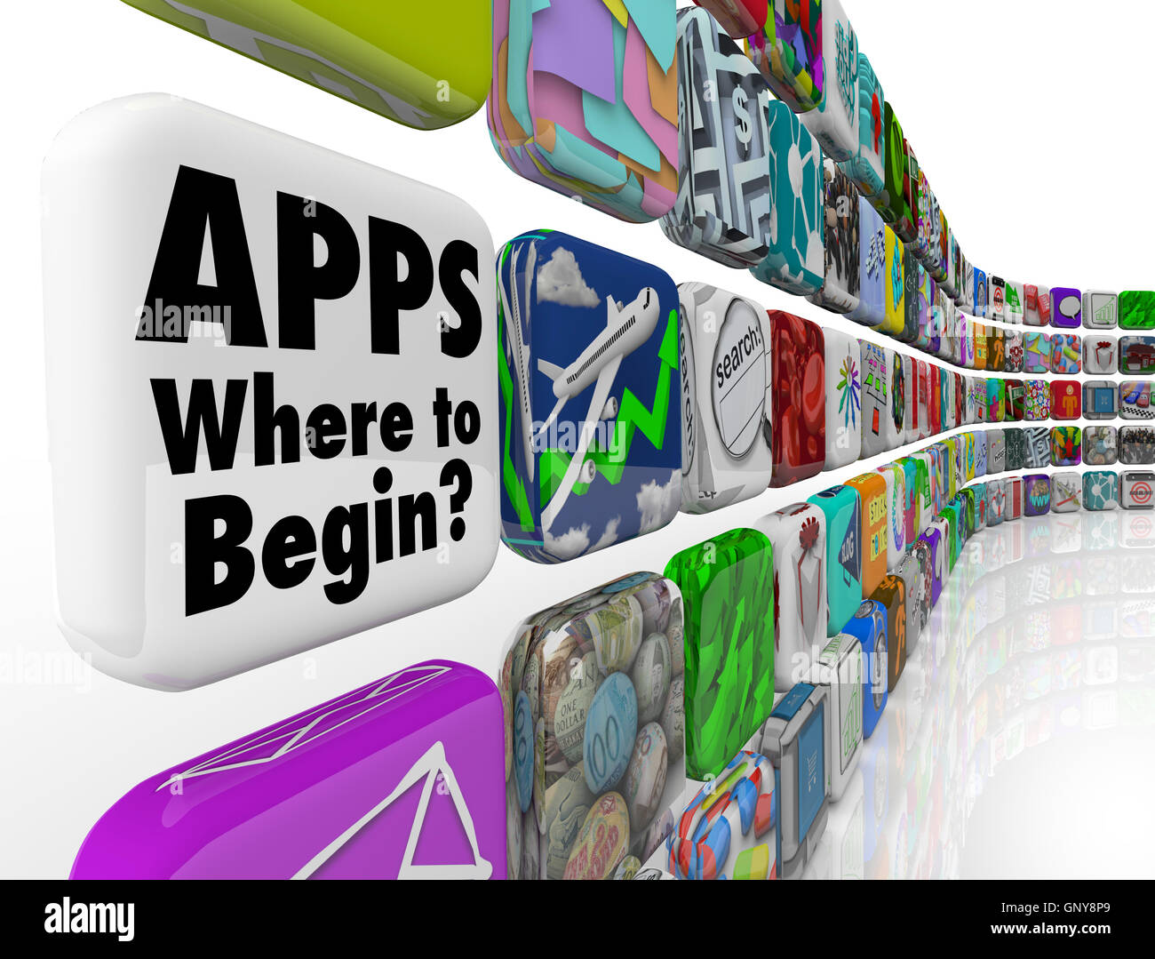 Apps Where to Begin Wall of App Tiles Many Confusing Choices Stock ...