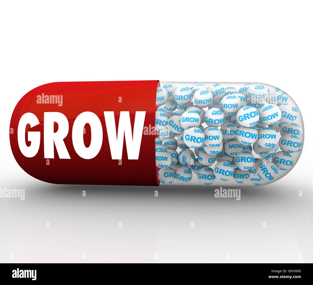 Grow Capsule Pill Instant Growth Improvement - Stock Image