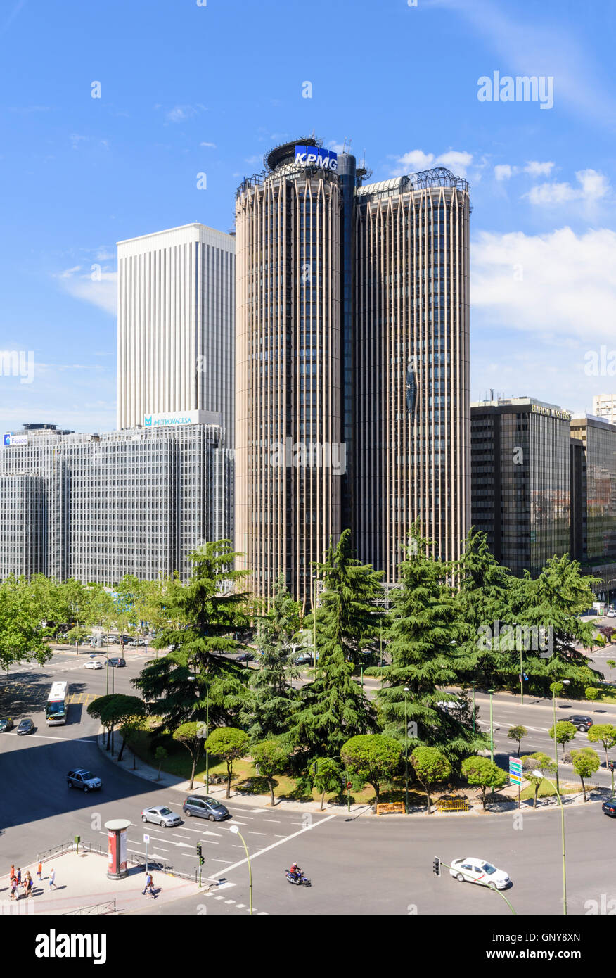 The Torre Europa skyscraper and Plaza de Lima in the financial district of Madrid, Spain - Stock Image