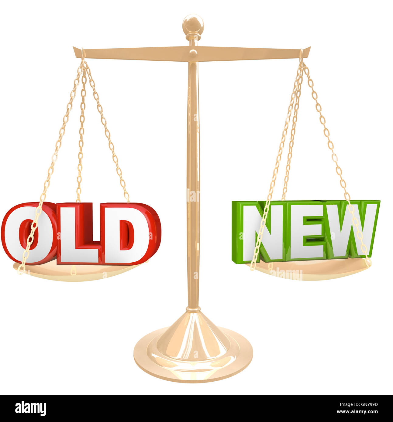 Old Vs New Words on Balance Scale Weighing Comparison - Stock Image