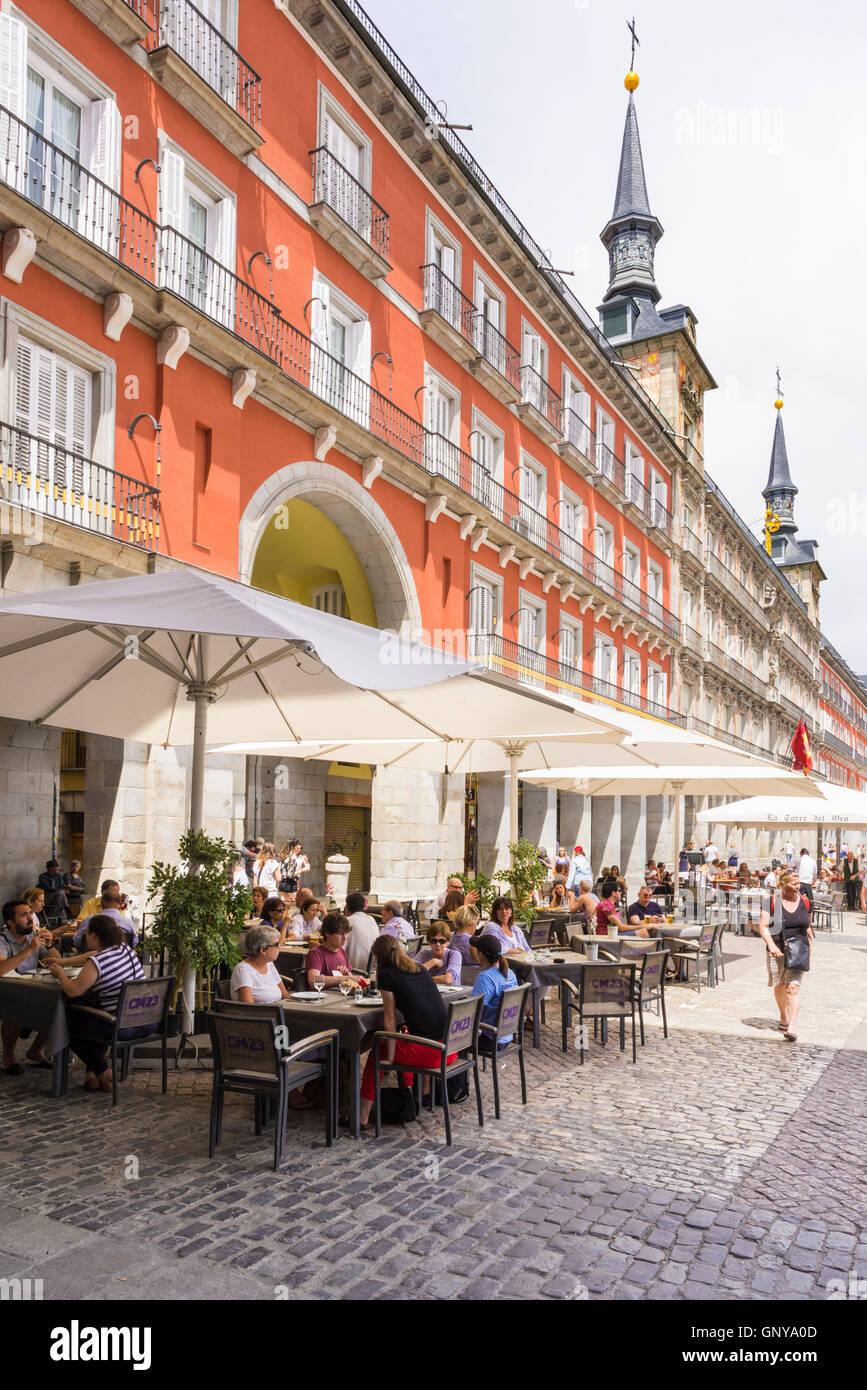 Plaza Mayor cafes, Madrid, Spain - Stock Image
