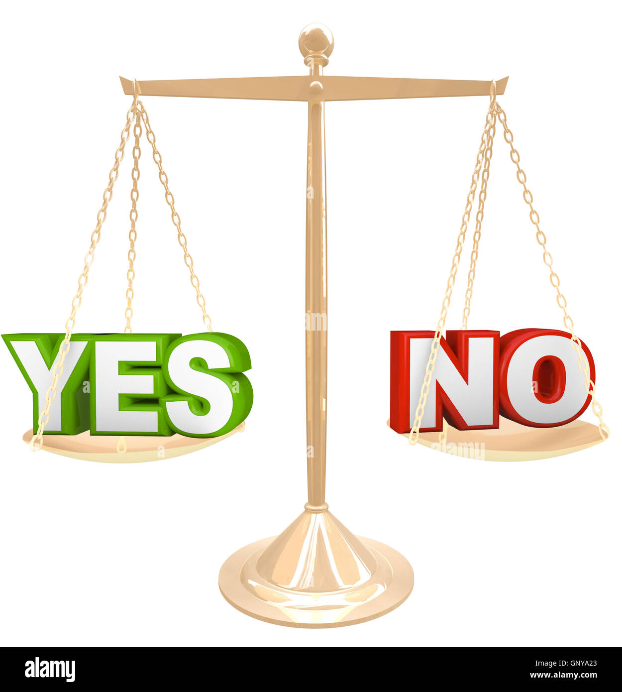Yes Vs No Words on Scale Weighing Options to Answer - Stock Image
