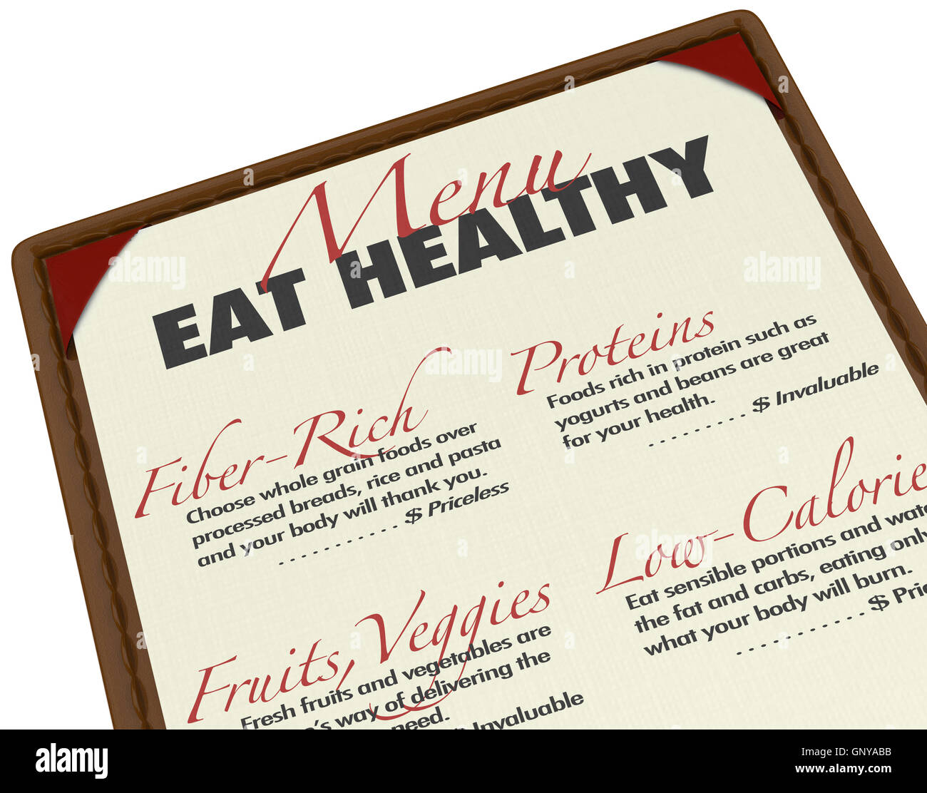 Eat Healthy Menu Smart Food Choices Protein Fiber Low-Fat - Stock Image
