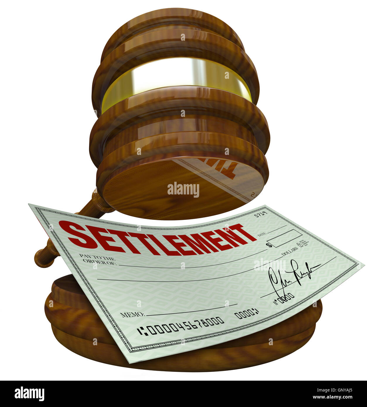 Gavel and Check - Legal Settlement Cash Between Parties - Stock Image