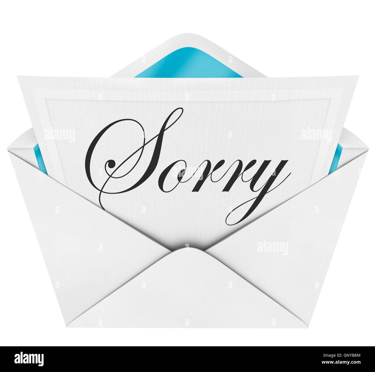 sorry handwritten cursive word open envelope letter