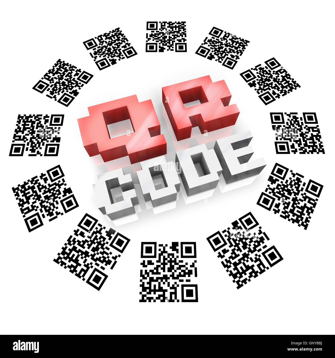 QR Codes in Ring Scan for Product Information - Stock Image
