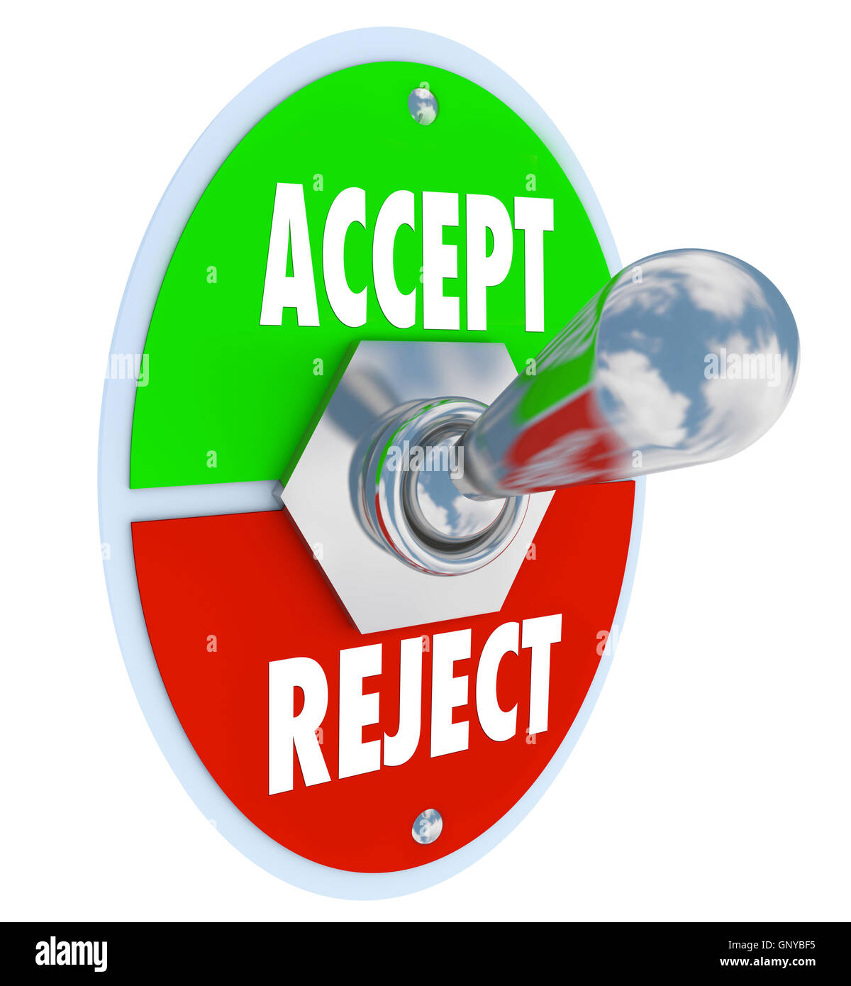 Accept vs Reject Switch of Acceptance or Rejection - Stock Image