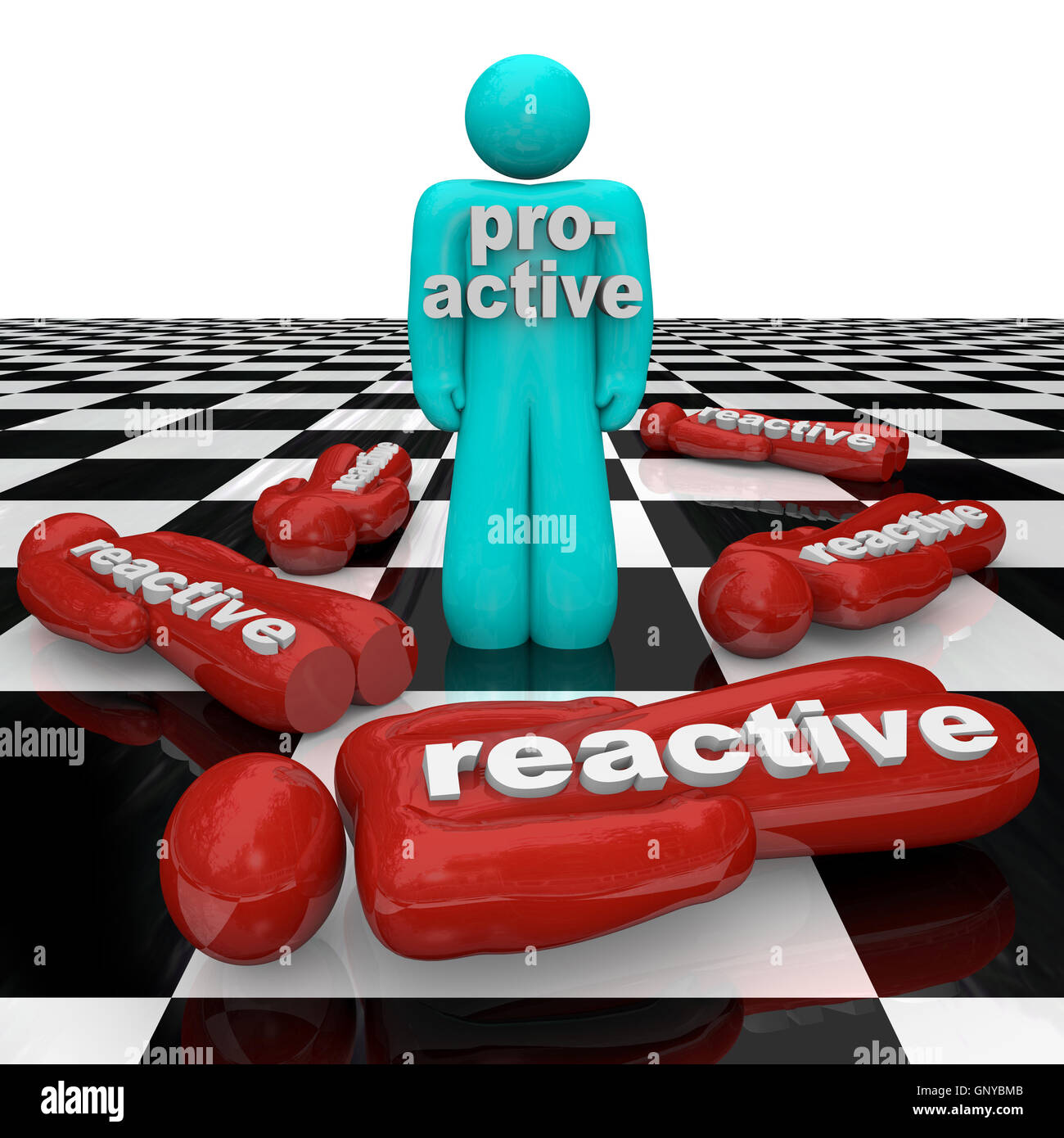Proactive Person Wins Vs Reactive Inactivity People Lose - Stock Image
