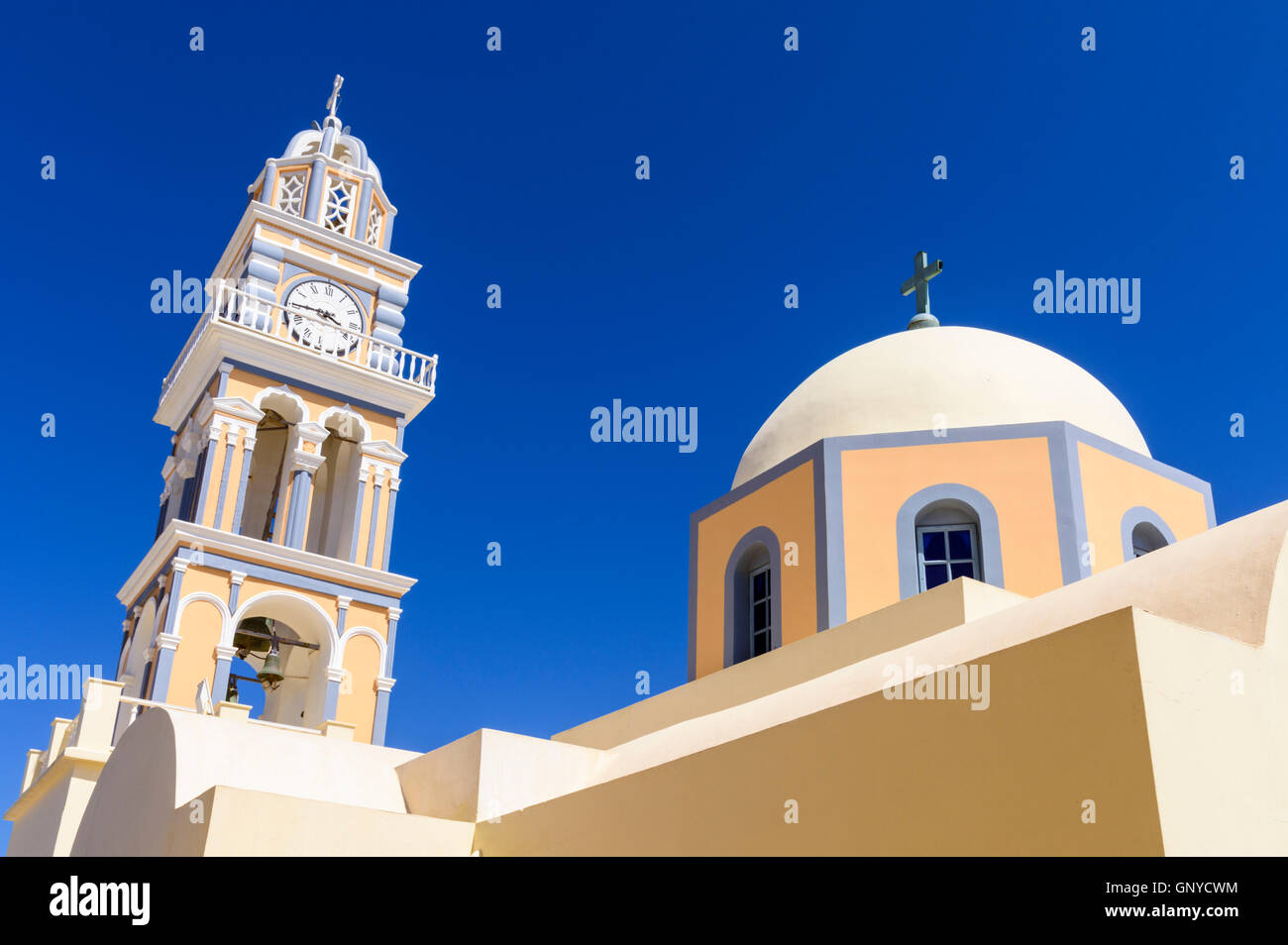 The distinctive St. John the Baptist Cathedral in Fira, Santorini, Cyclades, Greece - Stock Image
