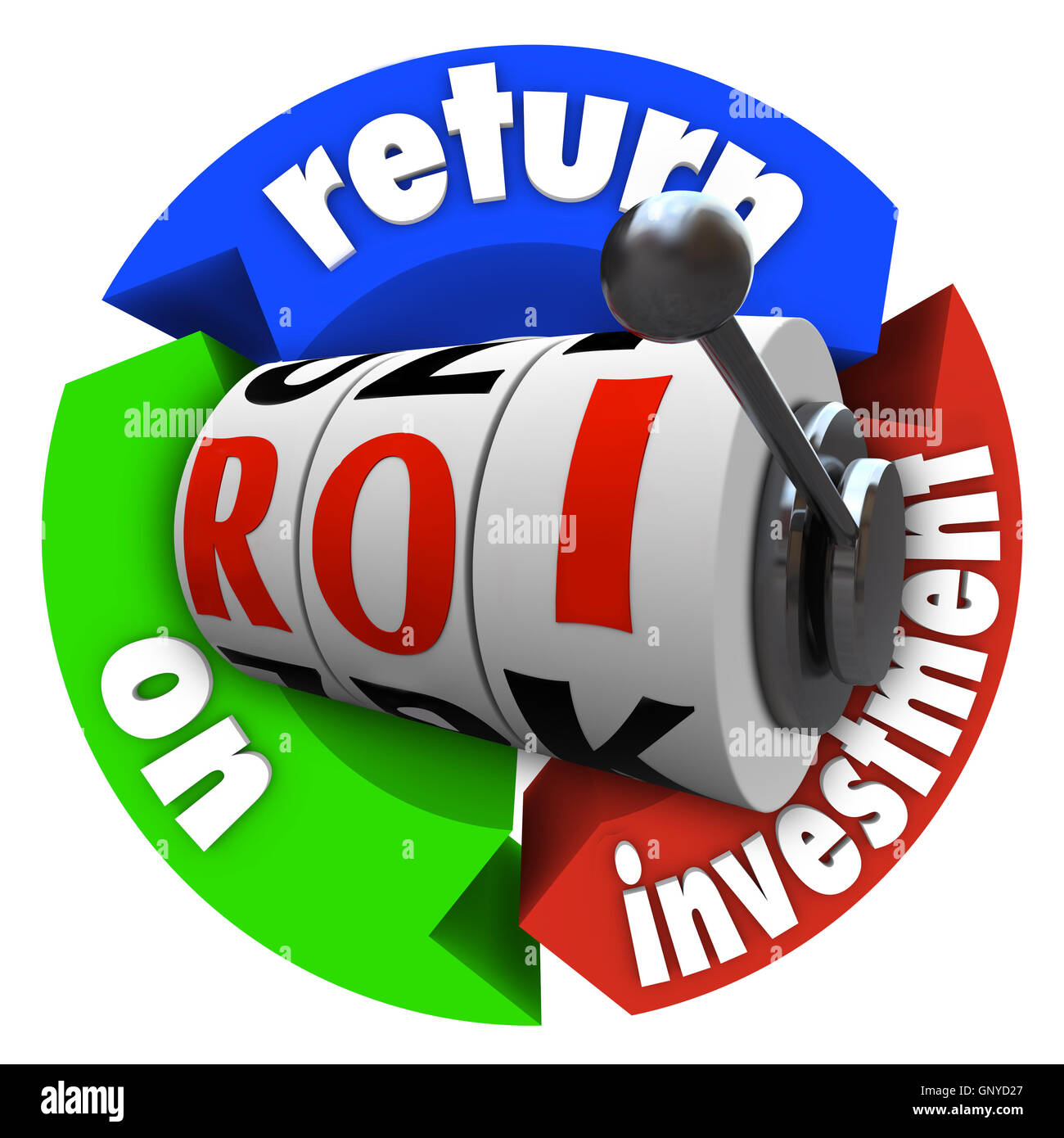 ROI Return on Investment Slot Machine Words Acronym - Stock Image