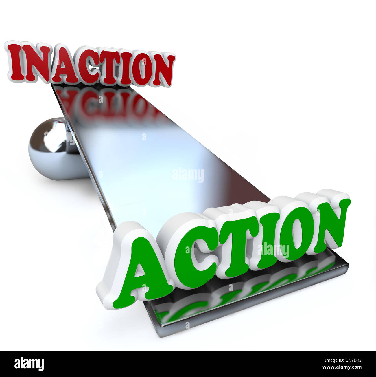 Action Vs Inaction Words on Balance Comparison - Stock Image