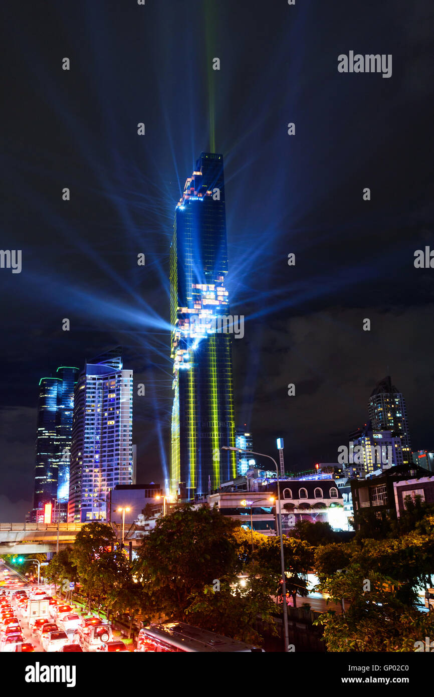 Lighting show in Grand opening mahanakhon tower in night time. New highest building landmark in Thailand & Lighting show in Grand opening mahanakhon tower in night time. New ...