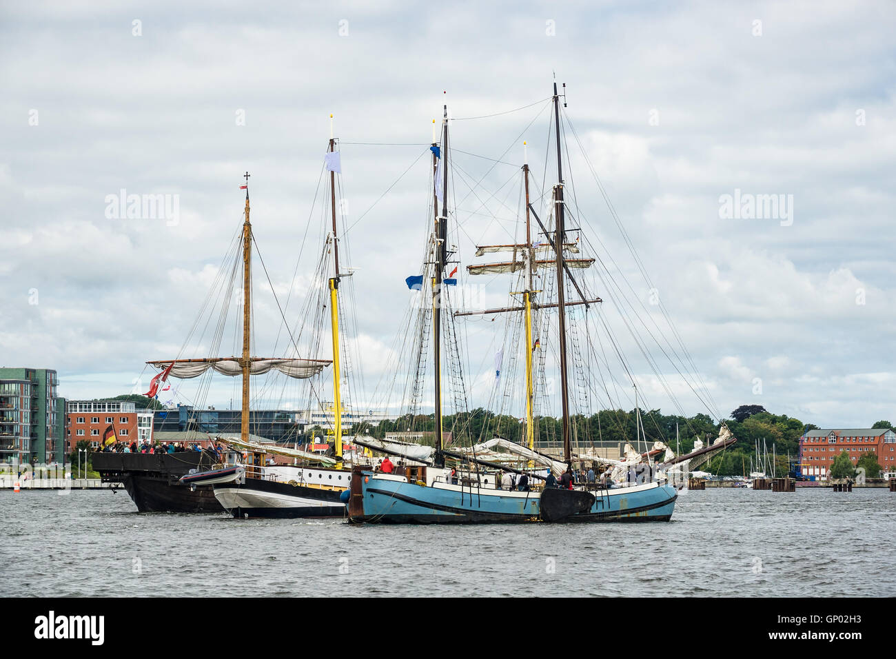 Sailing ships on the Hanse Sail in Rostock (Germany) - Stock Image