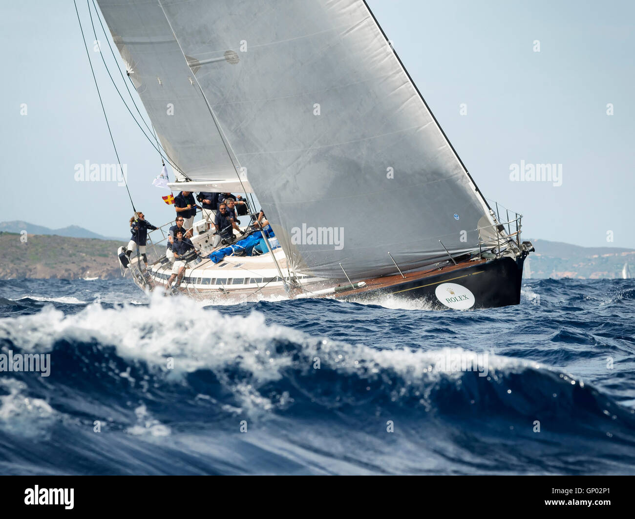 PORTO CERVO - 8 SEPTEMBER: team competing on Maxi Yacht Rolex Cup sail boat race in Sardinia, on September 8 2015 Stock Photo