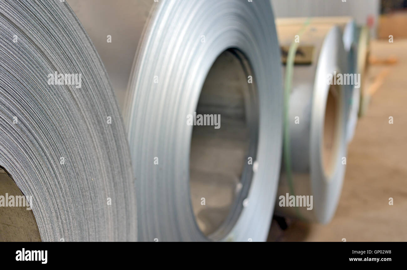 galvanized steel coil in steel plant - Stock Image