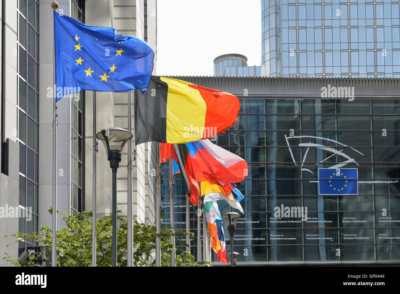 National Flags Flying at The European Parliament Building, Brussels, Belgium -1 - Stock Image