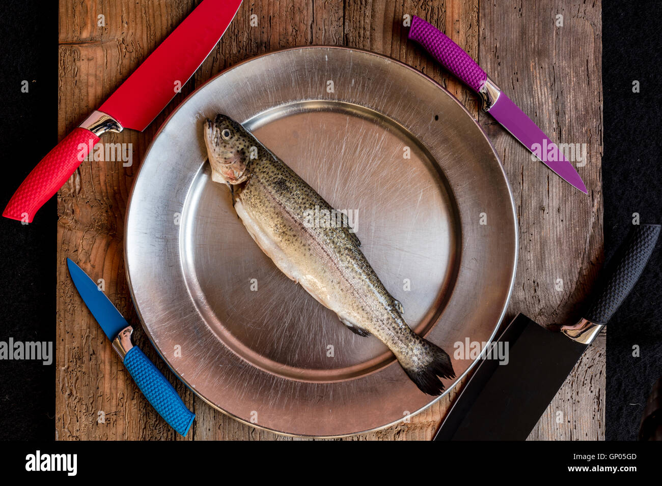 Fresh fish genuine ingredient of healthy Italian cooking - Stock Image