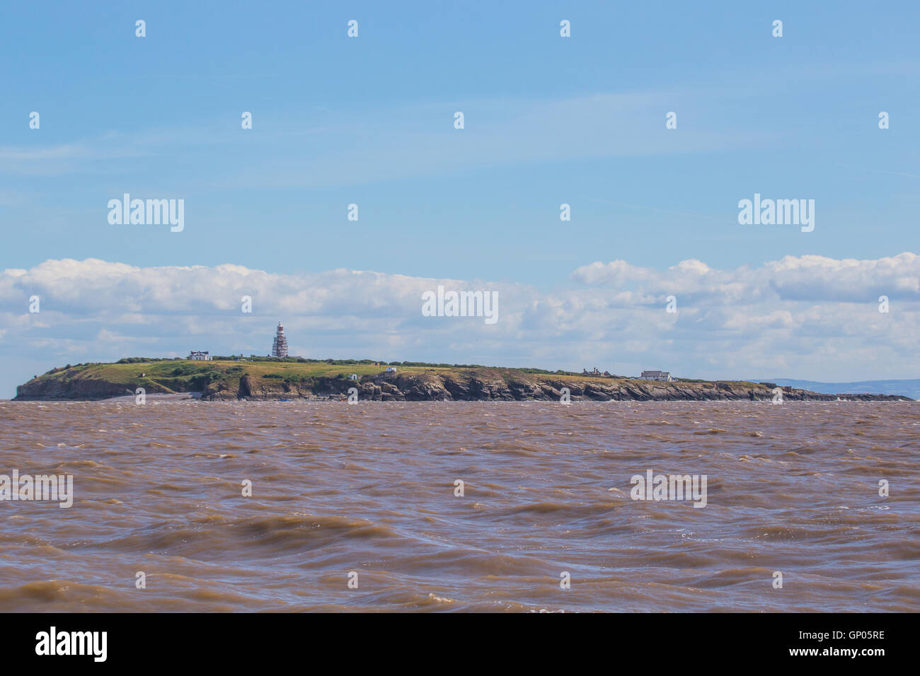 Flat Holm Island viewed from boat in the Bristol Channel - Stock Image