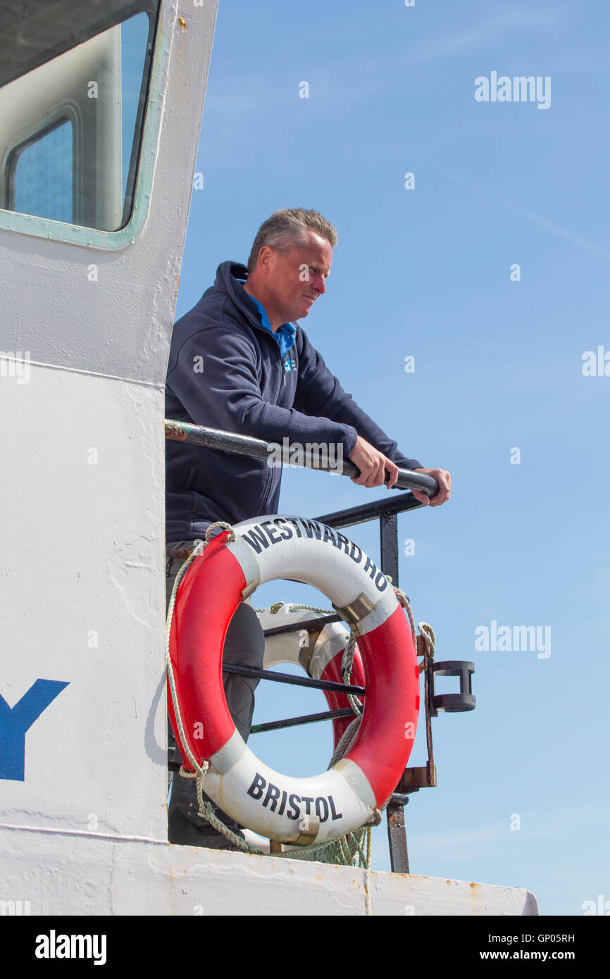 Man on the Westward Ho! islands ferry in the Severn Estuary - Stock Image