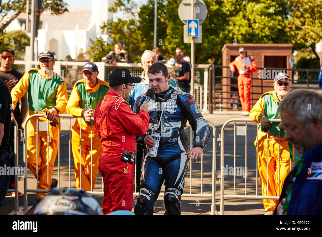 Michael Dunlop winner, in the TT classic superbike race at the Manx Festival of Motorcycling 2016 being interviewed Stock Photo