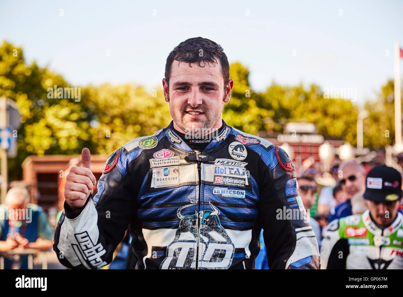 Michael Dunlop winner, in the TT classic superbike race at the Manx Festival of Motorcycling 2016. Stock Photo