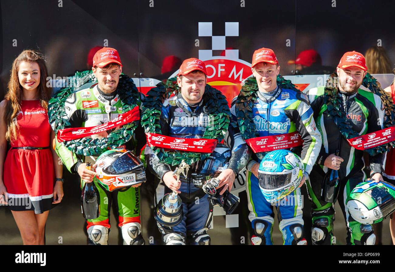 Michael Dunlop winner, Dean Harrison second, Jamie Hillier third, in the TT classic superbike race. Stock Photo