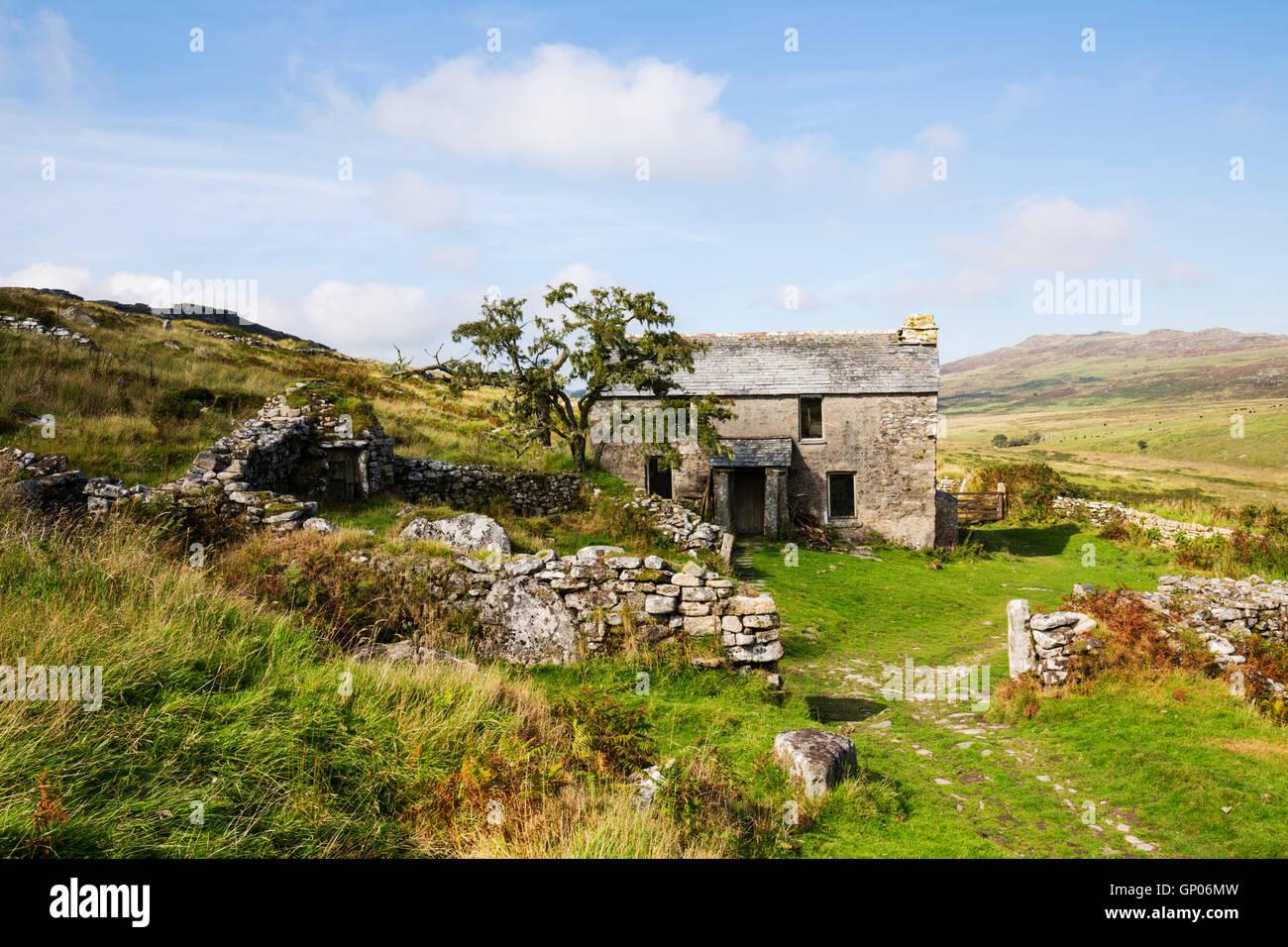 Garrow Farm deserted farmhouse on Bodmin Moor - Stock Image